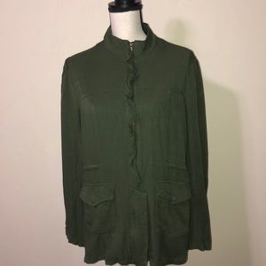 Maurices Rayon Green Zippered Jacket Size Large